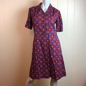 Vintage Red Blue Button Down A Line Dress